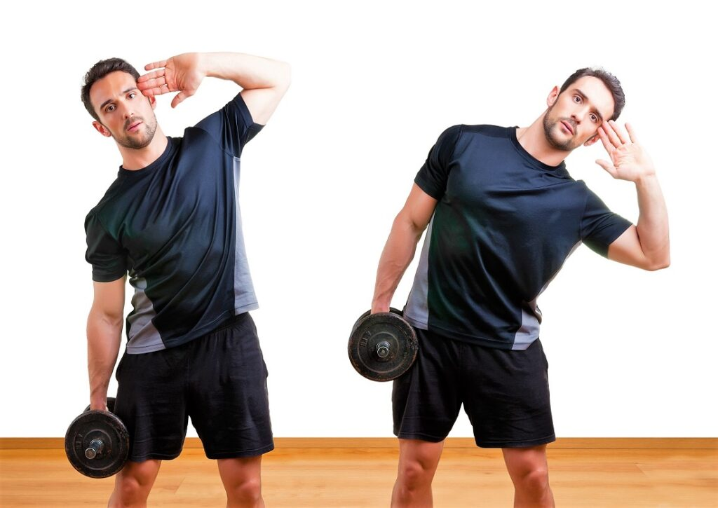 home-ab-exercises-side-dumbbell-bend